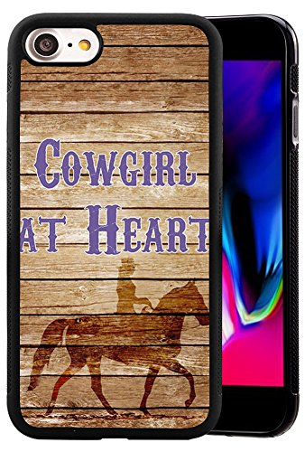 (Ademen iPhone 8 4.7 inch Case, Cowgirl At Heart Riding Horse Design Hard PC Soft Silicone Protective Durable Shockproof Case For iPhone 7 / iPhone 8 4.7