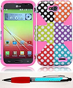 Accessory Factory(TM) Bundle (the item, 2in1 Stylus Point Pen) For LG L90 Dynamic Slim Hybrid Cover Case - Colorful Polka Dots+Light Pink cas protecteur de couverture