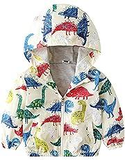 RSKK Toddler Kids Girl Boy Winter Coat Dinosaur Print Hooded Jacket Outfit Long Sleeve Zipper Hooded Baby Warm Outerwear