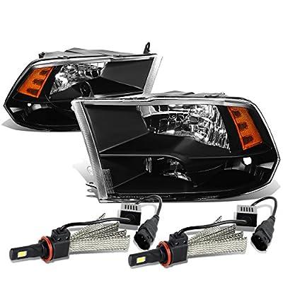 Dodge Ram Pair of Black Housing Amber Reflector Quad Headlight Lamp - 4th Gen DS/DJ/D2 + 6000K White LED Kit