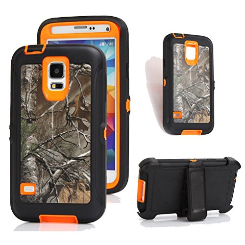 Galaxy S5 Holster Case, Harsel® Defender Series Heavy Duty Tree (Orange Hybrid)