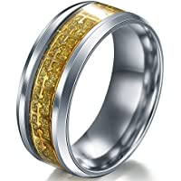 A.Yupha Cross Logo Christian Titanium Stainless Steel Band Ring Men Women Size 6-13 #Gold (11)