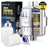 15 Stage Shower Filter, High Output Shower Water with KDF 55, Strongly Eliminates Chlorine and Fluoride, Vitamin C Included to Improve Skin Dryness, Hair and Nails with 2 Replaceable Filter Cartridges