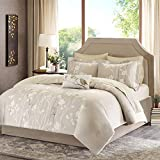 Home Essence Holly Complete Bedding Set Includes Comforter, 2 Standard shams, Bed skirt, Flat sheet, Fitted sheet, 2 Pillowcases, 1 Decorative pillow (9 Piece in a bag) - Queen, Taupe