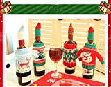 Windspeed Christmas Wine Bottle Cover, Knitted Bottle Sweaters Holder/Bag/Caddy for Red Wine Champagne - 4 Pack