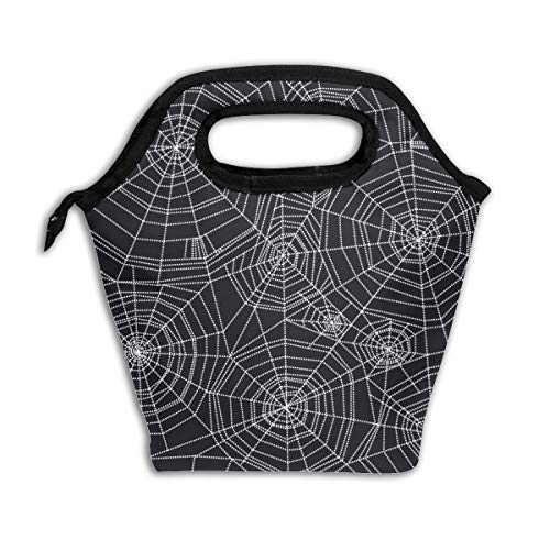 Abstract Spider Web Halloween Black Lunch Tote,Thick Reusable Insulated Thermal Lunch Bag Lunch Box Carry Case Handbags Tote With Zipper For Adults Kids Nurse Teacher Work Outdoor Travel Picnic]()