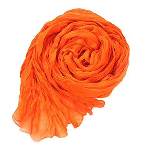 (King Ma Women Fashion Ruched Detail Sheer Soft Casual Scarf (orange))