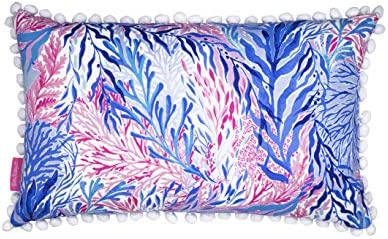 Lilly Pulitzer Pink Blue Indoor Outdoor Medium Decorative Pillow, Kaleidoscope Coral