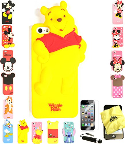 Bukit Cell 3D Cartoon Case Bundle - 4 items: ANIMATED POOH Cute Silicone Case Cover for iPhone SE 5S 5 5G + BUKIT CELL Trademark Cloth + Screen Protector + METALLIC Stylus Touch Pen