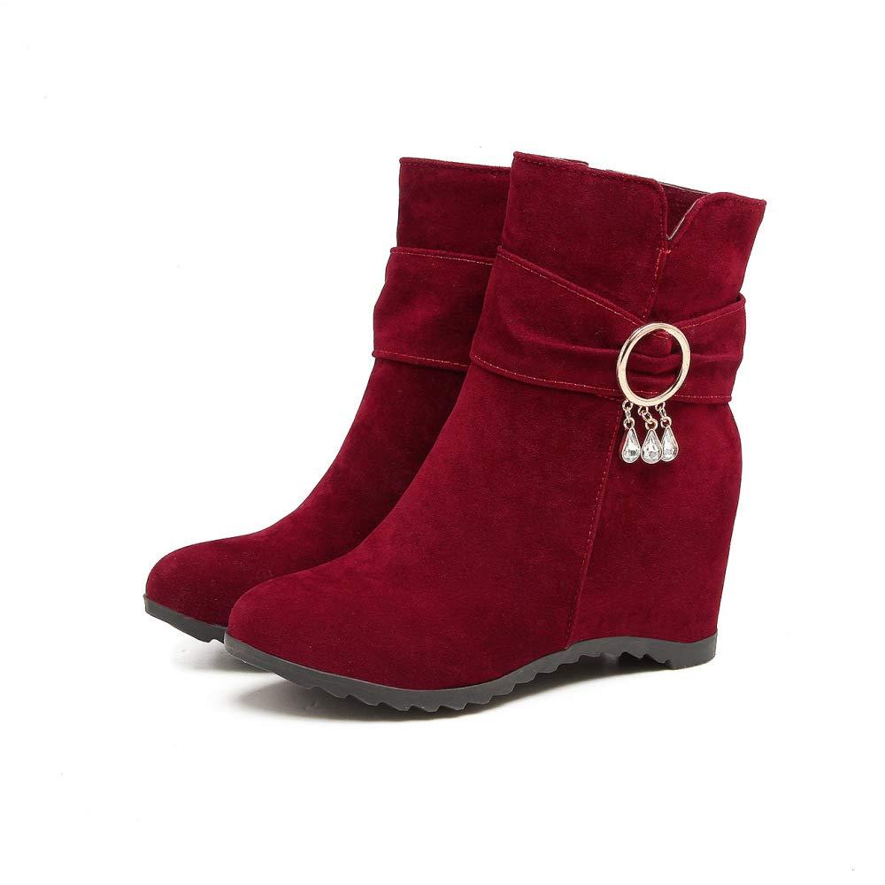 SHINIK Frauen Einfache Einfache Einfache Bogen Stiefel 2018 Winter Wildleder Stiefeletten Mit Hohem Absatz Größe 33-43 5d96ce