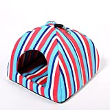 Hollypet 13 × 13 × 14 inches Summer Cool Comfortable Triangle Cat Bed Tent House, Blue Red Stripe