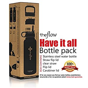 The Flow Stainless Steel Water Bottle Double Walled/Vacuum Insulated - BPA/Toxin Free – Wide Mouth with Straw Lid, Carabiner Lid and Flip Lid, 32 oz.(1 Liter) Black
