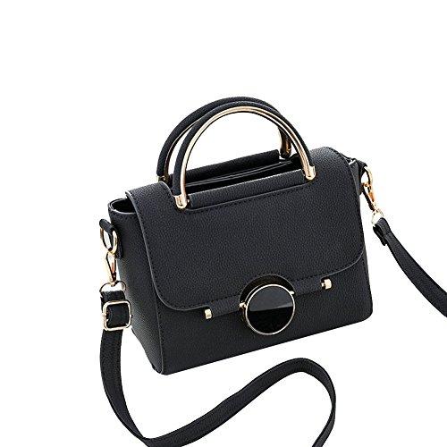 Classic Mini Satchel (Elfjoy Women's Fashion Solid Handle Handbag PU Leather purse Crossbody Shoulder Bag (Black))