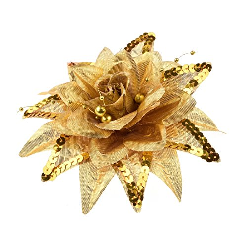 Daisyu Wedding Flower Hair Clips Red Flowers Hairpin Flower Brooch (Gold Flower Pin)