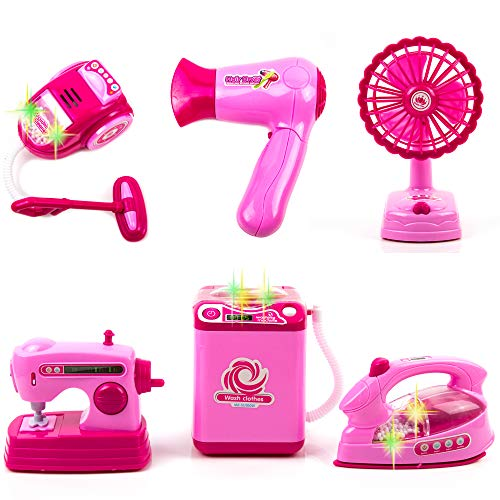 Toysery Mini Household Appliances Toy Set Material | Equipped with Lights | Easy to Play | Promote Creativity and Learning Skills of Kids | Battery Operated | Dream Gift for Girls -