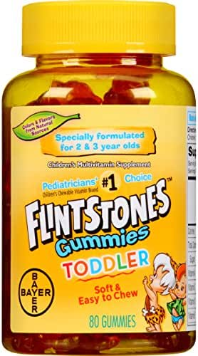 Flintstones Toddler Gummies Multivitamin, Kids Vitamin Supplement with Vitamins A, C, D, E, B6, and B12, 80 Count