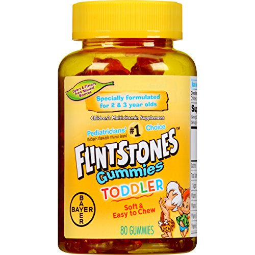 Flintstones Toddler Gummies Multivitamin, Kids Vitamin Supplement with Vitamins A, C, D, E, B6, and B12, 80 Count (Best Gummy Vitamins For Toddlers)
