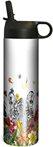 Tree-Free Greetings SP67148 White Tiger Flowers Vacuum-Insulated Stainless Steel Sportiva Tumbler, With Internal Straw, 17 Ounce