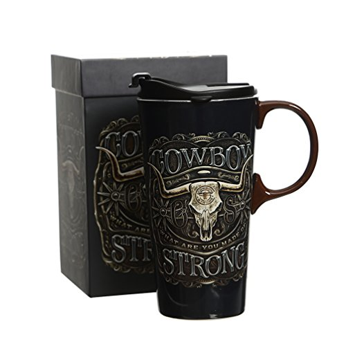 17 oz Ceramic Travel Mug with Lid and Handle Coffee Cup, Cowboy]()