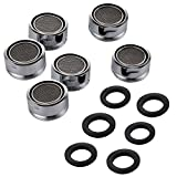 Sumnacon 6 Packs Low Flow Faucet Aerator - 24 mm Male Thread Faucet Bubbler Sink Aerator / Laminar Bubble Water Saving Faucet Aerator with Gasket for Kitchen and Bathroom, Chrome