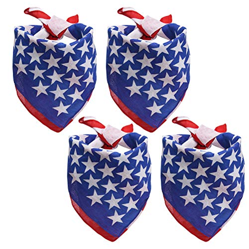 Livder 4 Pack USA Flag Dog Bandanas Large American Flags Design for Big Medium or Small Dogs or Cats Scarfs, Pets Bib ()