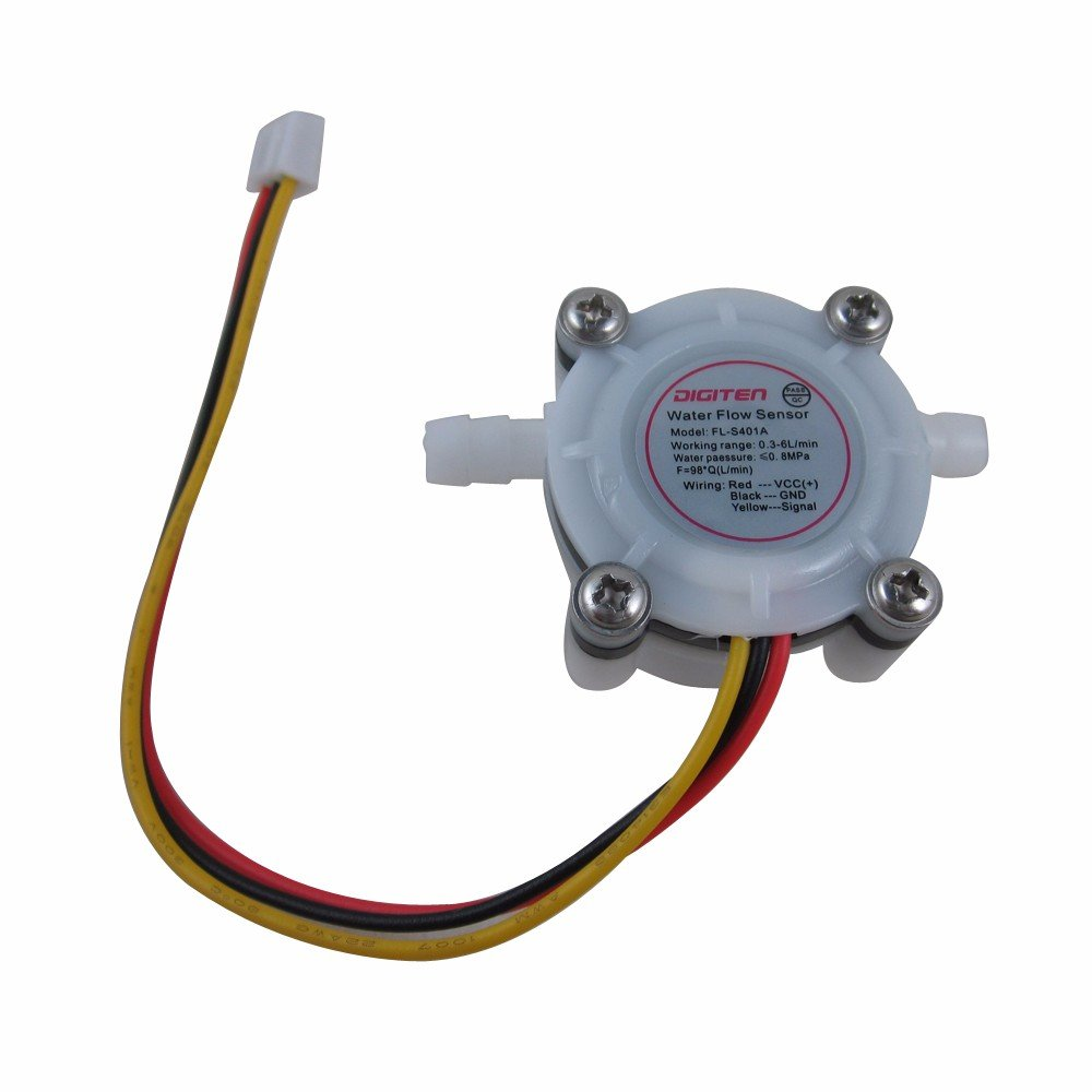 DIGITEN 0.3-6L/min G1/4' Water Coffee Flow Hall Sensor Switch Meter Flowmeter Counter BuildingMaterials