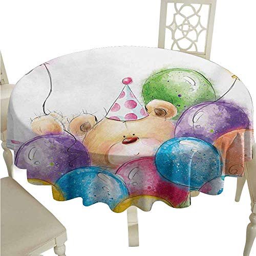 duommhome Kids Birthday Spill-Proof Tablecloth Hand Drawn Style Childish Design Teddy Bear Toy and Colorful Balloons Print Easy Care D35 Multicolor ()