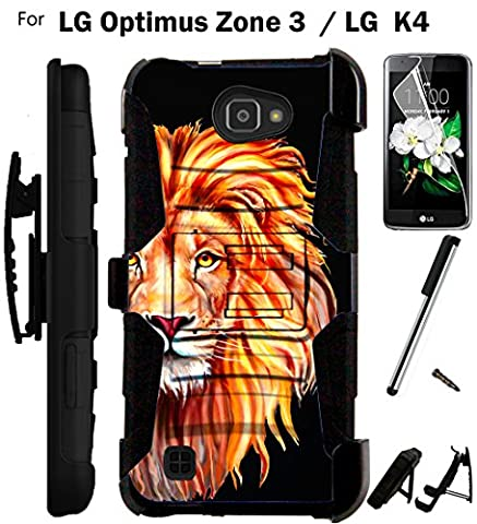 For LG Optimus Zone 3 Phone Case (Verizon) Armor Hybrid Rugged Silicone Cover Kick Stand LuxGuard Holster+LCD Screen Protector+Stylus (Half (Lg Optimus Cell Phone Holster)