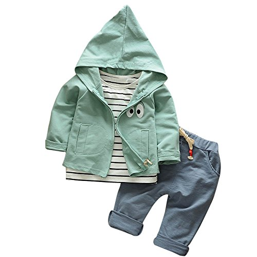 (❤️Mealeaf❤️ Baby Boys and Girls Clothes with Toddler Kid Baby Girls Boys Outfits Stripe T-Shirt+Hooded Coat+Pants Clothes Set (2-3 Years Old,)