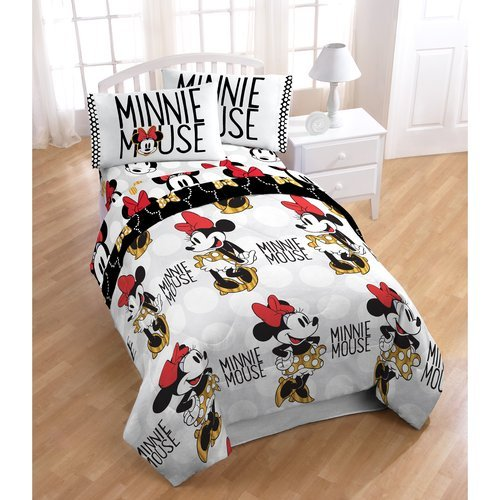 N2 4 Piece Kids Girls Minnie Mouse Comforter Twin Set, White Cute Disney Bedding Black Mini Mouse Cartoon Character In Heels Polka Dot Dress Gold, (Mini Twin Comforter)