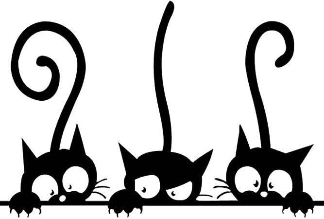 Bomcomi Dibujo Animado Lindo del Gato Adhesivas Pegatinas de Pared ...