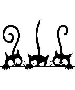 Providethebest Adhesive Nette Karikatur-Katze-Wand-Aufkleber Schlafzimmer Wohnzimmer Wandaufkleber steuern Wand-DIY Dekore
