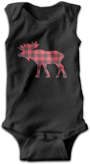 Amazon.com: SKYAKLJA Buffalo Plaid Moose Short Sleeve Baby ...