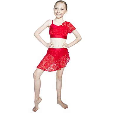 e292fc07b HDW DANCE Kids Girls Lyrical 2 Pieces Costume Lace Overlay Crop Tops and Lace  Skirts with