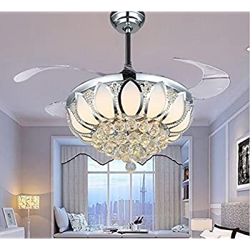 Luxury modern crystal chandelier ceiling fan lamp folding ceiling fans with lights chrome ceiling fan with light dining room decorative with remote control