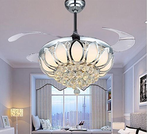 Art Deco Chandelier - Luxury Modern Crystal Chandelier Ceiling Fan Lamp Folding Ceiling Fans With Lights Chrome Ceiling Fan With Light Dining Room Decorative with Remote Control (Support Dimming)