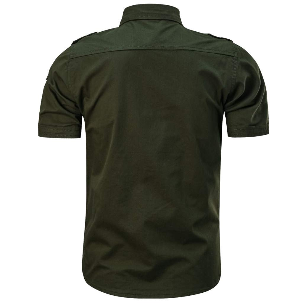 Mens Casual Fashion Military Pure Color Pocket Short Sleeve Loose T-Shirt Tops