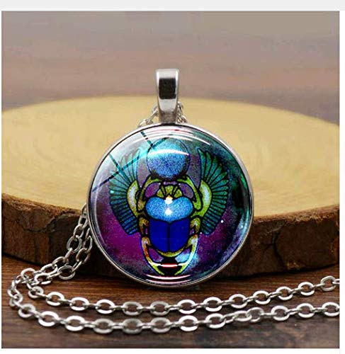 Egyptian Scarab Beetle with Round Glass Charms Pendants Necklaces, Antique Jewelry Gift - Rebirth Eternity