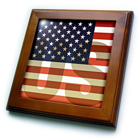 American Flag Tile (3dRose ft_37608_1 Unites States American Flag with Us Watermark Framed Tile, 8 by 8-Inch)
