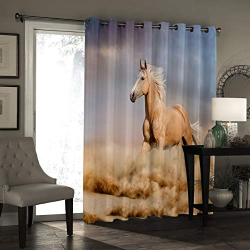 Edwiinsa Window Curtain Drapes Treatment Kitchen Blackout Curtains, Curtains and Drapes for Kitchen Cafe Office, Palomino Horse in Sand Desert with Long Blond Male Hair Wild Animal, 52''W x 90''L