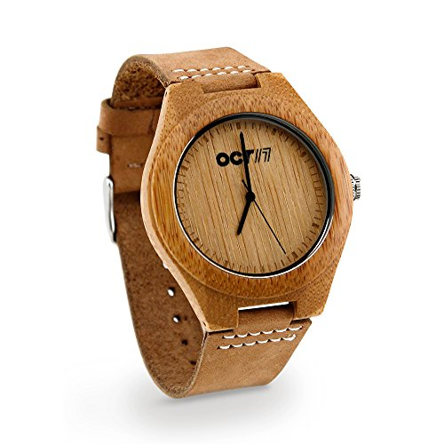 Genuine Quartz Leather - Oct17 Luxury Men's Walnut Wood Fashion Bamboo Wooden Watch Quartz Genuine Leather Japanese Quartz Movement Casual Light Brown Wristwatches