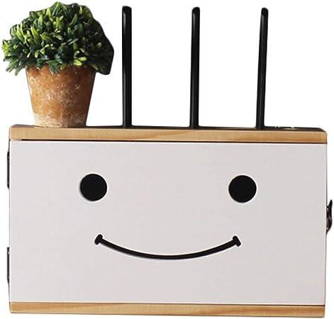 Sólido Creativa WiFi Router Caja De Almacenamiento De Madera-Vivir La Pared del Sitio Sonriente Lindo Decorativo Plataforma Multimedia Set-Top Box Caja De Blindaje De Pared: Amazon.es: Hogar