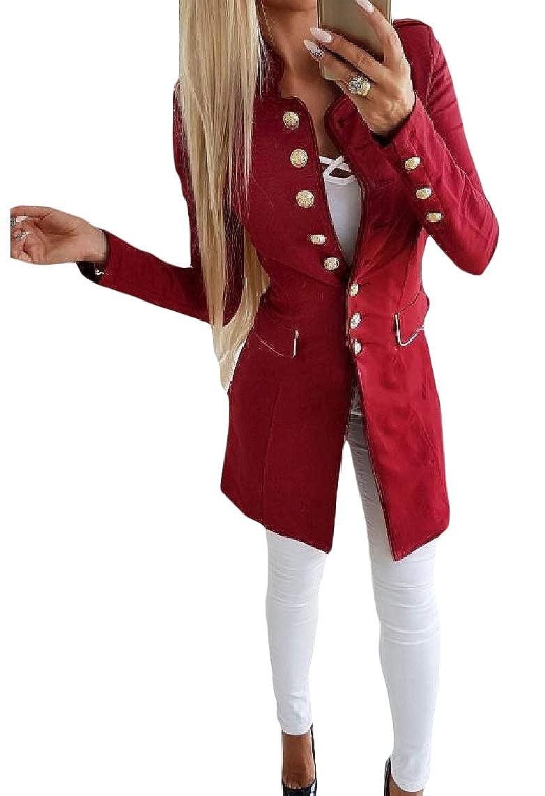 KaWaYi Womens Curvy Long Sleeve Solid Colored Button Down Biker Jacket
