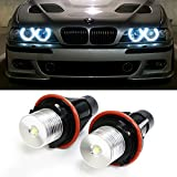 iJDMTOY (2) 7000K White High Power LED Angel Eyes Ring Marker Bulbs for BMW 5 6 7 Series X3 X5 (Fit E39 E53 E60 E63 E64 E65 E66 E83)