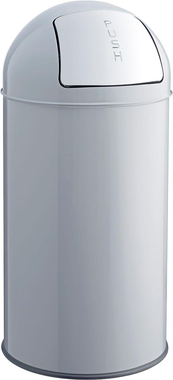 helit h2401487Poubelle en métal, 50L, gris clair