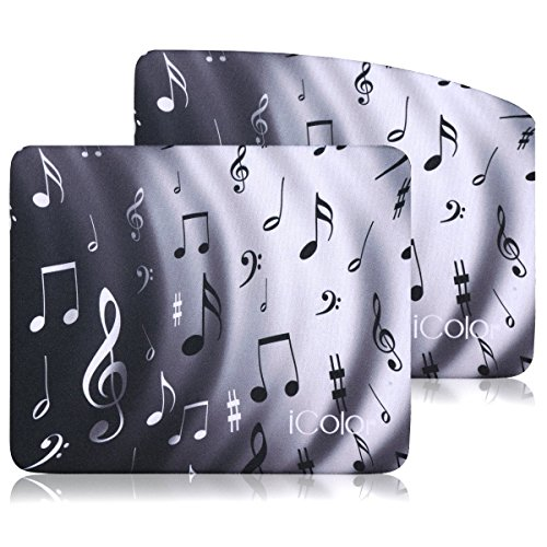 iColor Cool Mouse Pad 9' X 7.5' inches Water Resistant Non-Slip Base Neoprene Mouse Mat Computer Gaming Mouse Pads with Music Notes Design,Set of 2 (ICMP-02)