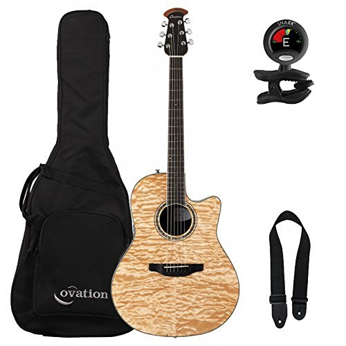 Ovation Guitar Accessories - Ovation Celebrity Standard Plus CS24P-4Q Natural Quilt Maple with Gig Bag and Accessory Pack