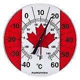 "Marathon Housewares BA030002-FL Canadian 12"" Indoor/Outdoor Dial Thermometer - Canadian Flag"