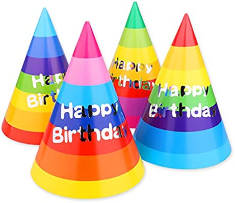 Rainbow Birthday Party Cone Hats 12 Ct