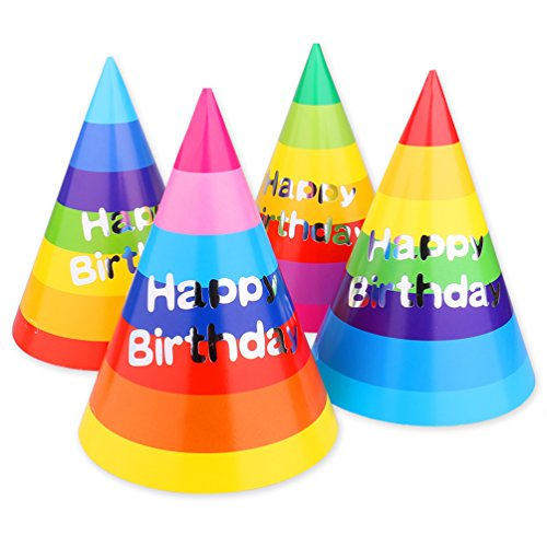 Rainbow Birthday Party Cone Hats, 12 ct -